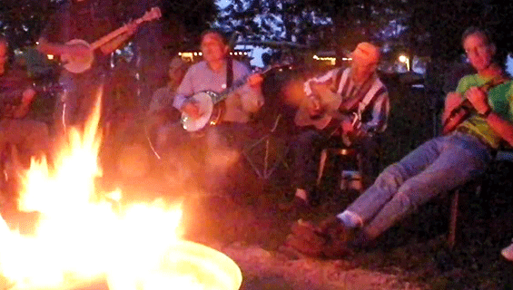 Picking at Graves Mountain Music Festival around the bonfire