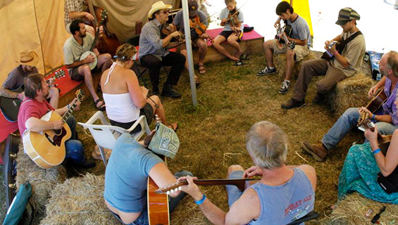 Jamming in Jammers Temt at Graves Mountain Music Festival