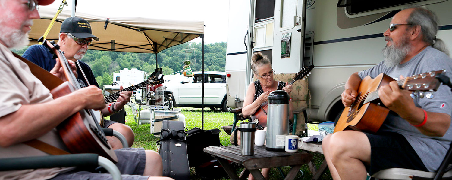 Bluegrass Jamming at Graves MOuntain Farm Campground in the Blue Ridge of VA